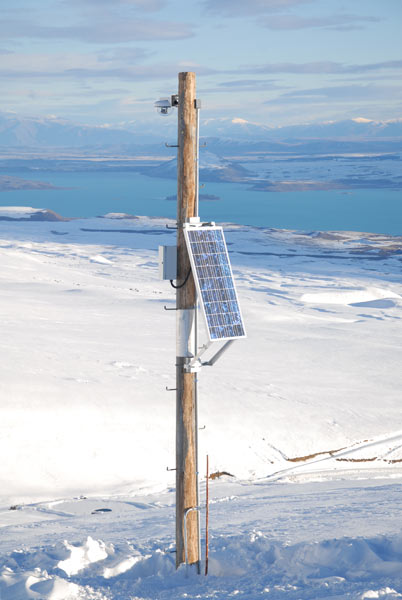 A typical example of a solar powered webcam on a ski field